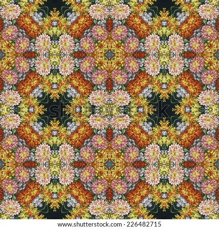 Seamless background, artistic abstract colorful floral pattern, hand-draw oil painting - stock photo