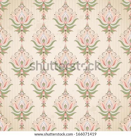 Seamless background. Blotches, stripes and vintage damask pattern. - stock photo