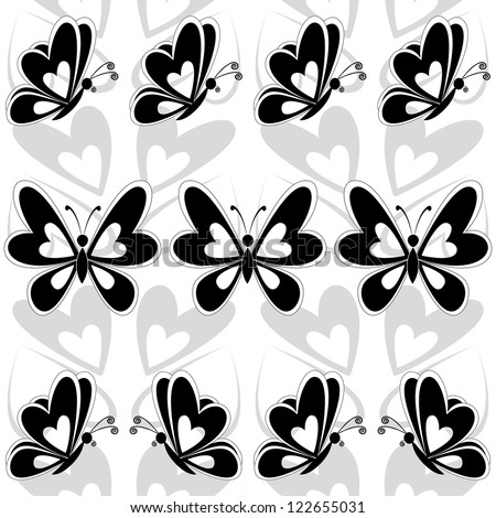 Seamless background, butterflies black silhouettes on white background. - stock photo