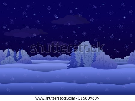 Seamless background, Christmas landscape: night winter snowy forest