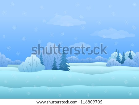 Seamless background, Christmas landscape: winter snowy forest