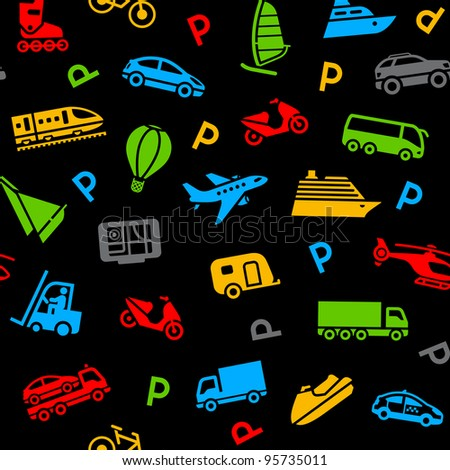 Seamless background, colors icons transport. Bitmap copy my vector ID 93650800 - stock photo