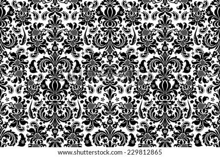 Seamless background Damask. Ornate vintage background - stock photo