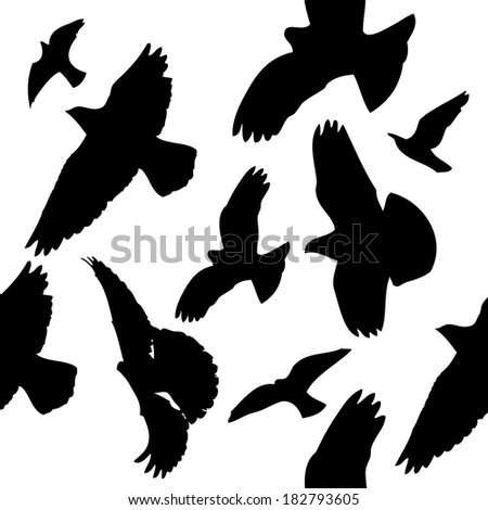 seamless background. Flying birds in the sky. Raster