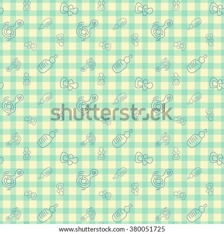 seamless background for baby. Bottle, pacifier, rattle - stock photo