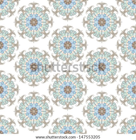Seamless background from floral ornament round. Raster - stock photo
