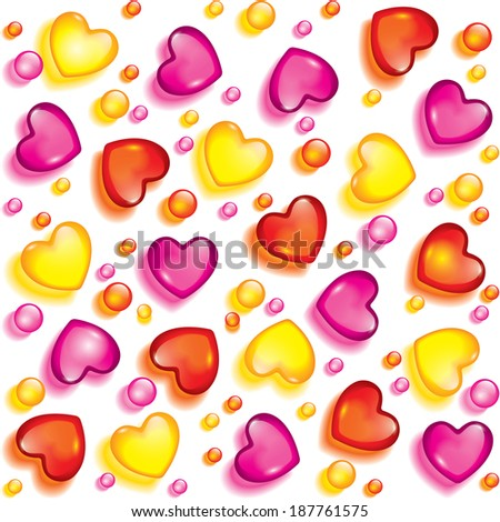 Seamless background from hearts and beads of glass - stock photo