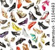 seamless  background from shoes on the white - stock photo