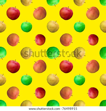 seamless background: fruits, various apples on yellow