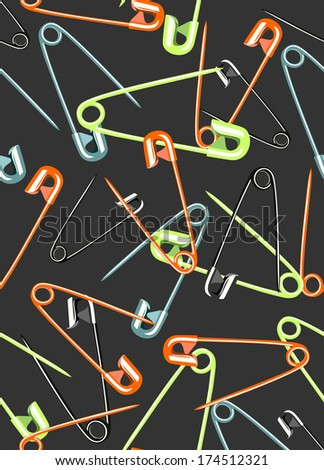 Seamless Background Illustration Featuring Safety Pins - stock photo