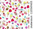 Seamless background illustration of cute, hand drawn style summer retro candies background - stock photo