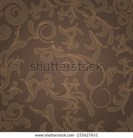 Seamless background in brown and gold color with floral elements