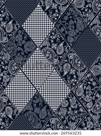Seamless background lace, paisley and pied-de-poule, houndstooth design - stock photo