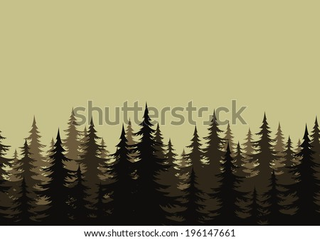 Seamless background, landscape, night forest with fir trees silhouettes. - stock photo