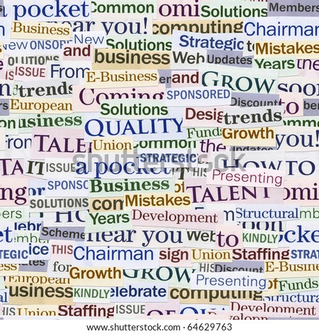 Seamless background, made of newspaper clippings. Business theme. - stock photo
