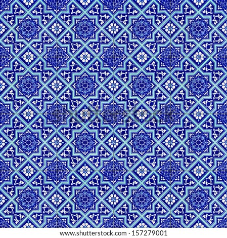 Seamless background made of turkish ceramic tiles - stock photo