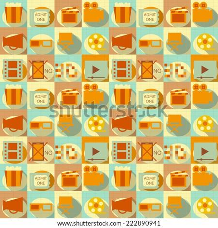 Seamless Background - Movie in Retro Style - Flat Design. Illustrations - stock photo