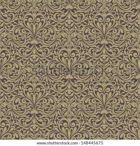 Seamless background of brown color in the style of Damascus - stock photo