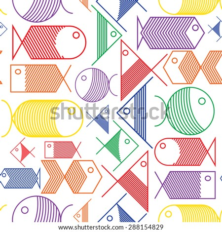 Seamless background of colorful fishes pattern cartoon.Raster version - stock photo