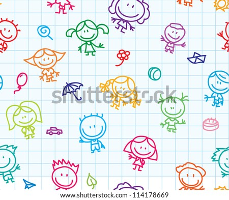 Seamless background of doodle happy children on school paper texture - stock photo
