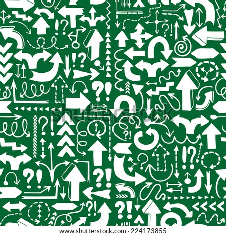 Seamless background of hand drawn arrows with question and exclamation marks on green background. Vector version is also available in the portfolio. - stock photo