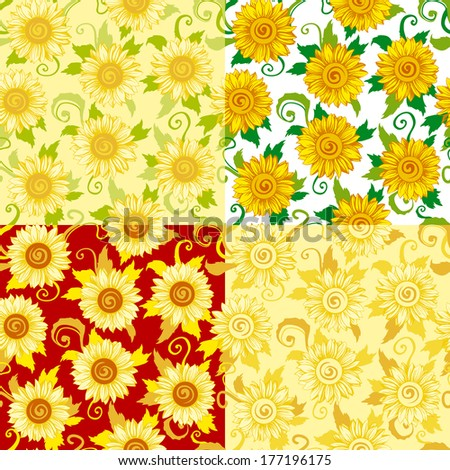Seamless background of pattern with; sunflowers. Four kind of colors