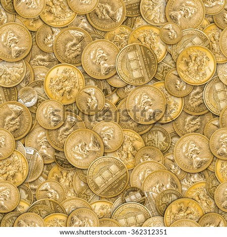 Seamless background of the gold coins - stock photo