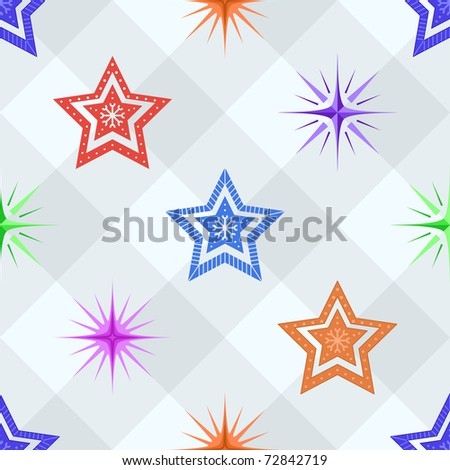 seamless background, pattern from stars of different forms on a checkered