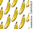 Seamless background pattern of happy ripe yellow bananas with smiley faces on white, cartoon illustration - stock