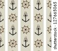 Seamless background pattern with anchor and helm. Raster version. - stock photo