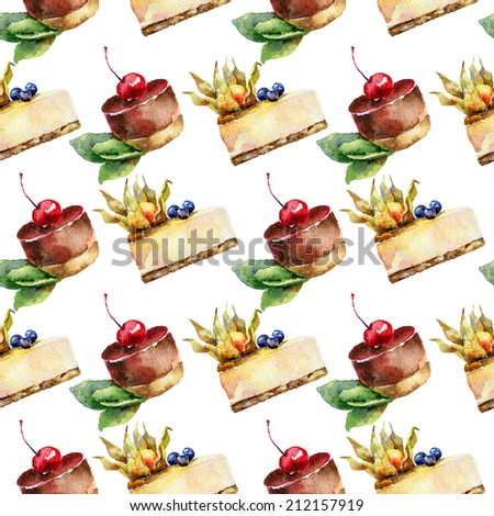 Seamless background . Pattern with cakes. Watercolor illustration - stock photo