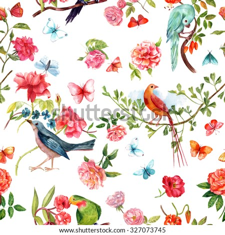 Seamless background pattern with retro watercolor birds, roses and butterflies; vintage collage - stock photo