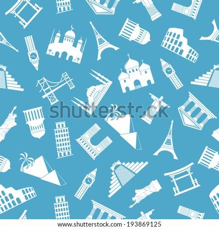 Seamless background pattern. World landmarks silhouettes. - stock photo