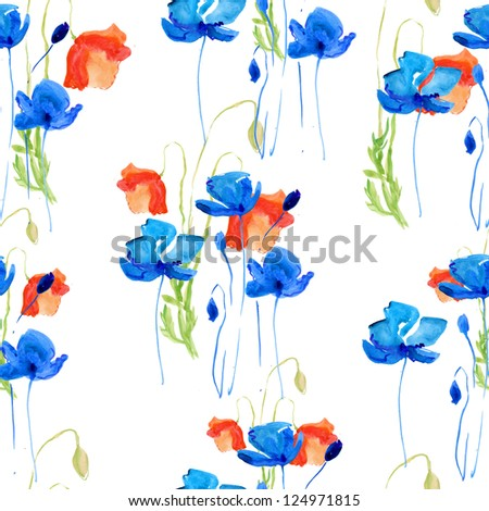 Seamless background: poppy. watercolor - stock photo