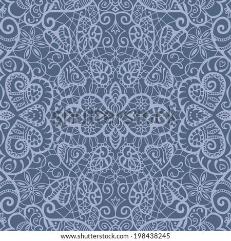 Seamless background, retro floral and geometric ornament with hearts, romantic lace pattern, ethnic abstract decoration, hand drawn artwork, raster version - stock photo