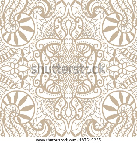 Seamless background, retro geometric ornament, lace pattern, abstract decoration, hand-drawn artwork, sketch, brown beige and white, raster version - stock photo