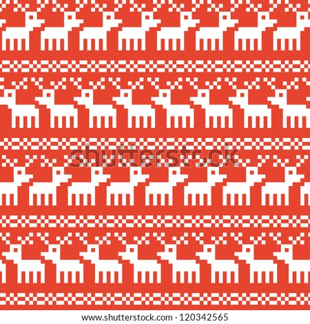 Seamless background texture on Christmas theme with deers, raster version - stock photo