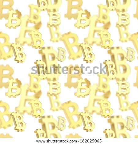 Seamless background texture pattern made of golden bitcoin peer-to-peer crypto currency signs over white - stock photo