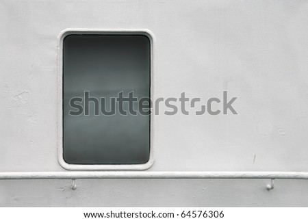 Seamless background texture photo of white painted ships wall with window and handrail - stock photo