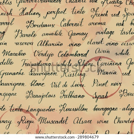 Seamless background texture with names of wine grapes and wine-related terms - stock photo