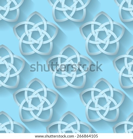 Seamless background tile with an intertwining Celtic Knotwork pattern with a long shadow effect. - stock photo