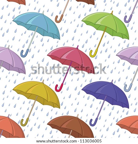 Seamless background, various colorful umbrellas and blue rain drops on white