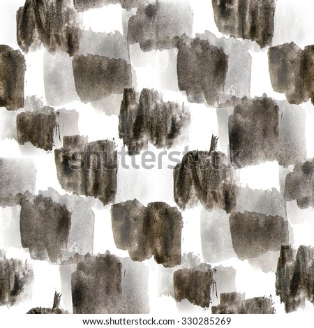 seamless  background watercolor black white square chess board brush color water abstract art - stock photo