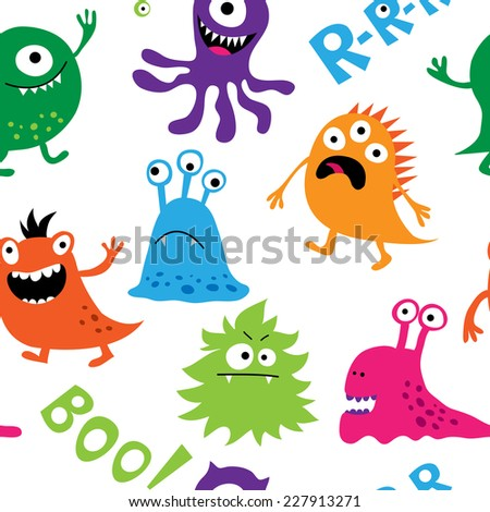 Seamless background with a colorful cute monsters - stock photo