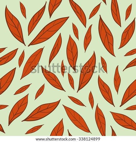 Seamless background with autumn leaves pattern. Raster version - stock photo