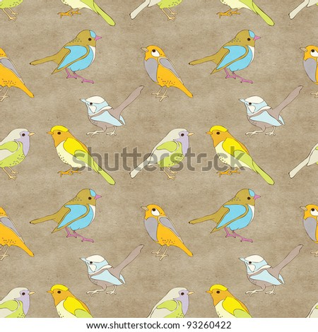 Seamless background with birds pattern - stock photo
