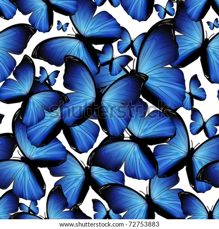 seamless background with blue butterflies - stock photo