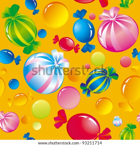 Seamless background with bright multi-coloured sweets and sugar candies - stock photo