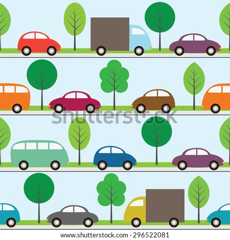 Seamless background with cartoon cars. Raster version - stock photo