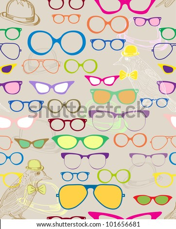 Seamless background with color eyeglasses, illustration - stock photo